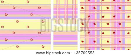 Set of checkered fabric seamless pattern with hearts and berries. Vector backgrounds.