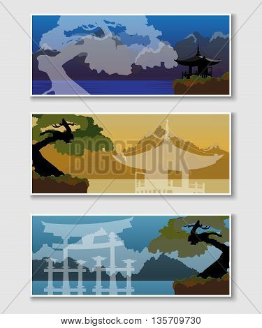 Set of web banners with Japanese landscapes. Templates of banners with traditional Japanese buildings at sunrise afternoon and evening.
