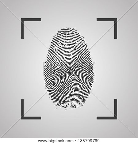 Fingerprint Icon on a gray background. Vector illustration