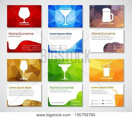 Design of business cards for cafes bars and restaurants. Polygonal colorful business card templates with glasses of wine brandy beer cocktail martini and juice. Vector illustration. Set.