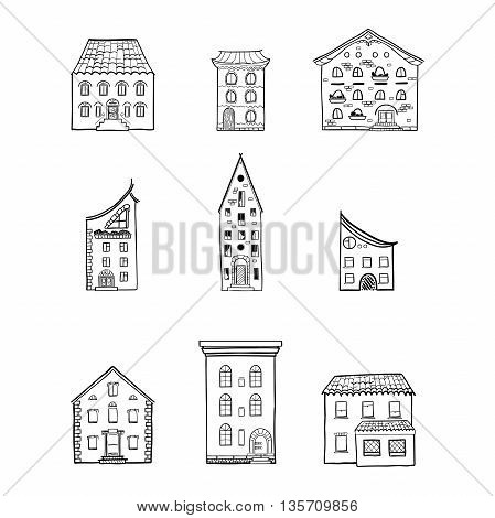Set of black and white doodle houses, hand-drawn monochrome sketch house, isolated, EPS 8