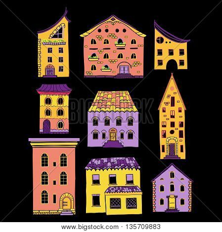 Set of color doodle houses, collection of hand-drawn bright sketch buildings, isolated, EPS 8