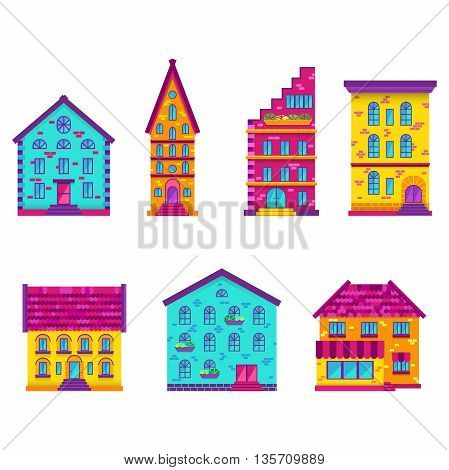 Set of color flat houses, bright flat builings, isolated, EPS 10