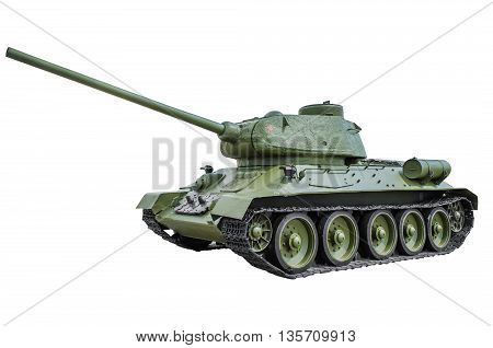 Soviet tank T-34/85. isolated on white background