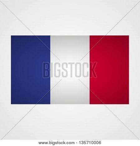 France flag on a gray background. Vector illustration