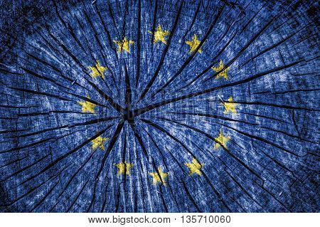flag of the European Union on cracked wooden texture