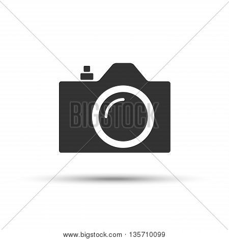 Common SLR camera icon sign placed on white background