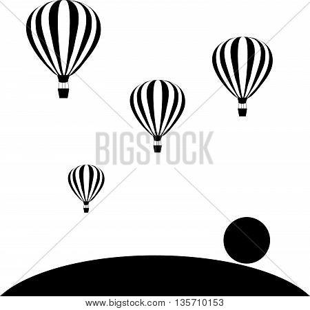aerostats flying in sky at sunset, vector illustration