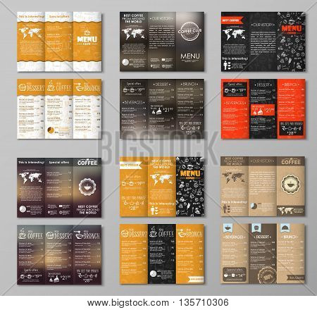 Set triple folding menus for the cafe restaurants bars or coffee shops. Menu items with drawings by hand blurred background old cardboard texture. Vector illustration