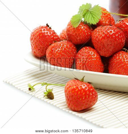 Tasty Strawberry on plate summer food background