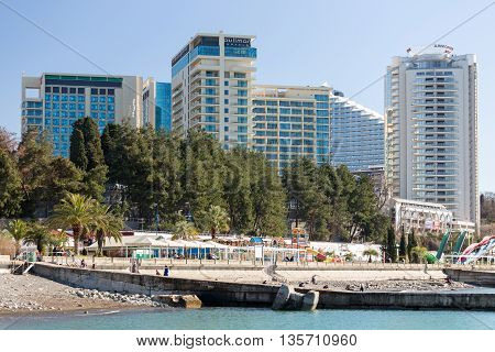 Sochi, Russia - February 9, 2016: Modern luxury hotels on the coast Black Sea city of Sochi