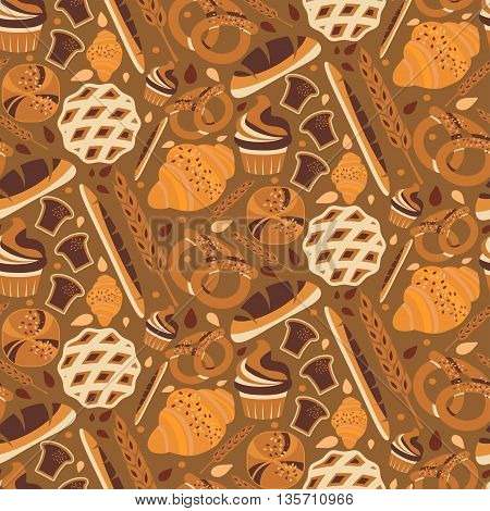 Seamless Pattern For Bakery Theme With Bread,loaf, Croissant, Cupcakes, Pretzel And Spike. Vector Il