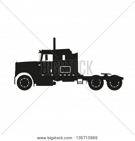 Black silhouette of a tractor truck on a white background. Vector illustrator
