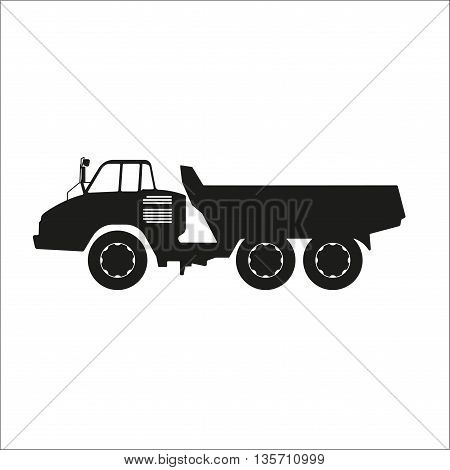 Black silhouette of a dump truck on a white background. Vector illustration