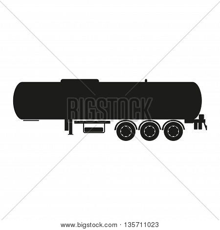 Cargo tank . Silhouette of a cargo trailer. Vector illustration