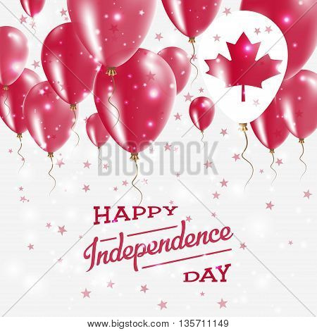 Canada Vector Patriotic Poster. Independence Day Placard With Bright Colorful Balloons Of Country Na