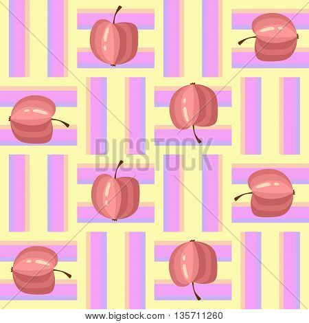 Seamless pattern with colorful apples on weaving background. Vector illustration.