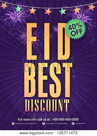 Sparkling purple Eid Best Discount, Sale Poster, Sale Banner, Sale Flyer, 40% Off, Vector Sale Illustration.
