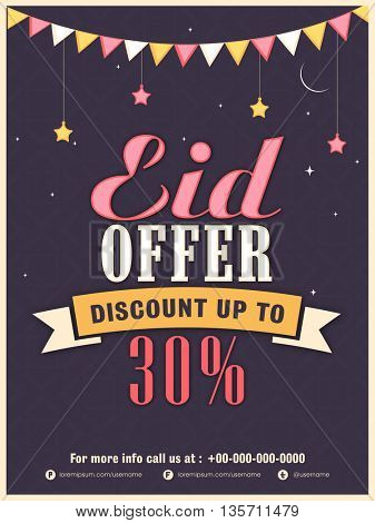 Retro Styled Eid Sale Poster, Sale Banner, Sale Flyer, Discount upto 30% Off, Vector Illustration.