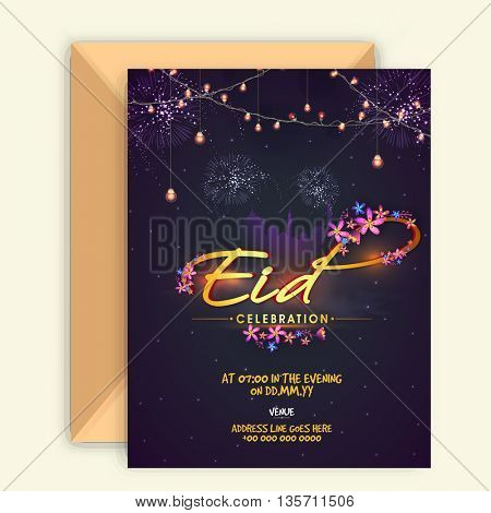 Glowing Invitation Card with flowers decorated golden text Eid Celebration on Mosque silhouetted, Purple sparkling background for Muslim Community Festival Celebration.