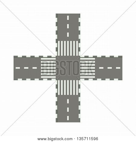 Empty road intersection icon in cartoon style on a white background
