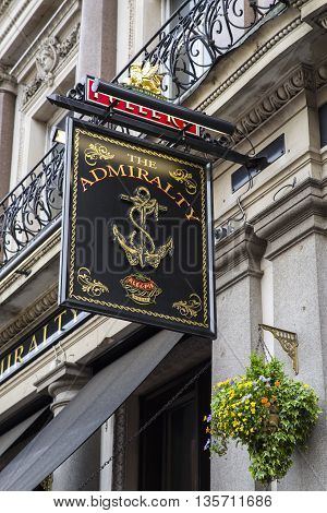 LONDON UK - MAY 7TH 2016: The sign on the exterior of the Admiralty public house on Trafalgar Square in London on 7th May 2016.