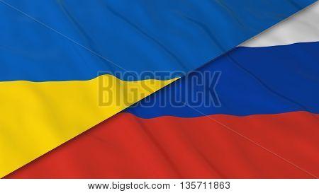 Flags Of Ukraine And Russia - Split Ukrainian Flag And Russian Flag 3D Illustration