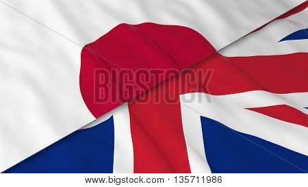 Flags Of Japan And The United Kingdom - Split Japanese Flag And British Flag 3D Illustration