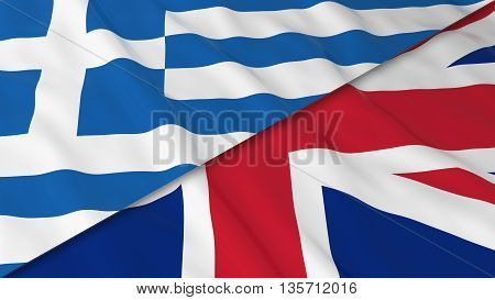 Flags Of Greece And The United Kingdom - Split Greek Flag And British Flag 3D Illustration