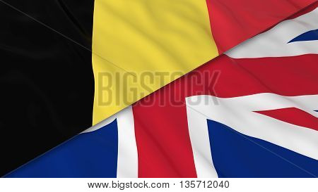 Flags Of Belgium And The United Kingdom - Split Belgian Flag And British Flag 3D Illustration