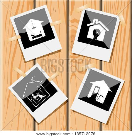Home set. Photo frames on wooden desk. Vector icons.