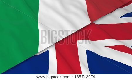 Flags Of Italy And The United Kingdom - Split Italian Flag And British Flag 3D Illustration