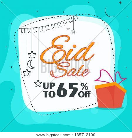 Stylish Eid Sale Poster, Sale Banner, Sale Flyer, Sale Background, Discount upto 65% Off, Vector Sale Illustration.