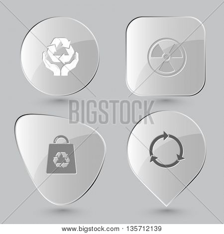 Ecology set. Glass buttons on gray background. Vector icons.