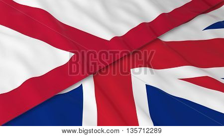 Flags Of Northern Ireland And The United Kingdom - Split Northern Irish Flag And British Flag 3D Ill