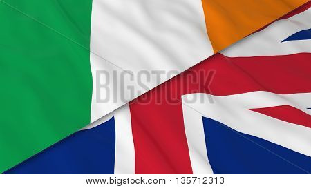 Flags Of Ireland And The United Kingdom - Split Irish Flag And British Flag 3D Illustration