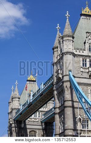 An abstract view of Tower Bridge in London.