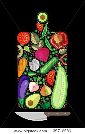Fresh vegetables are laid out in the form of a cutting board. Vector graphics.
