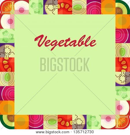 Frame of vegetable pieces. Sleek design. Vector graphics