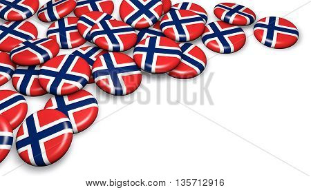 Norway flag on pin badges 3d illustration image for national Norwegian day events holiday and celebration with copyspace.