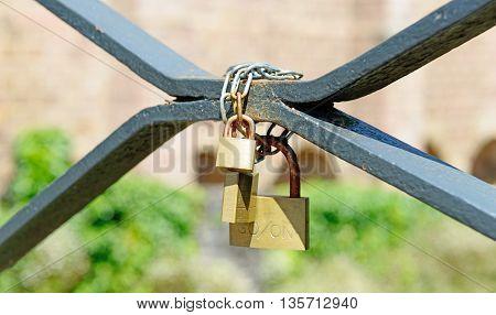 Love padlocks at a bridge of Saint Jean Pied de Port