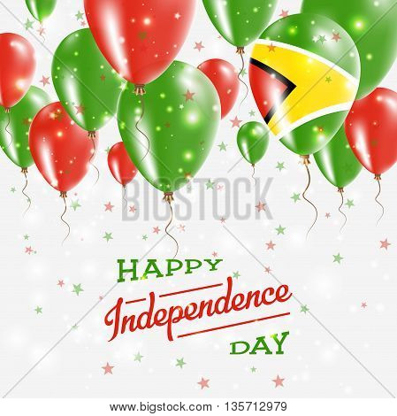 Guyana Vector Patriotic Poster. Independence Day Placard With Bright Colorful Balloons Of Country Na