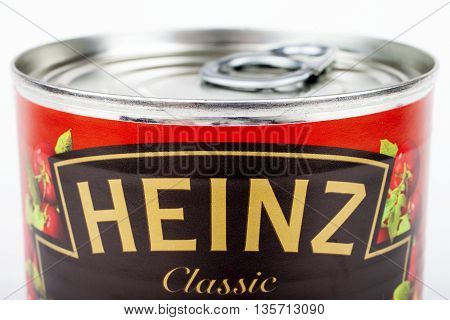 LONDON UK - MAY 6TH 2016: A close-up shot of the Heinz logo on a tin of Tomato Soup on 6th May 2016.