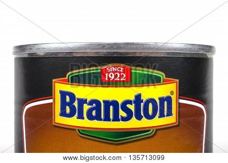 LONDON UK - MAY 6TH 2016: A close-up shot of the Branston logo on a tin of food on 6th May 2016.