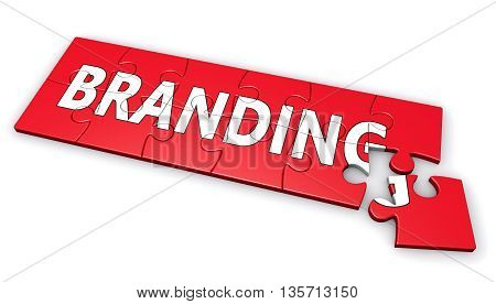 Corporate branding development and brand marketing concept with word on a red jigsaw puzzle 3D illustration on white background.