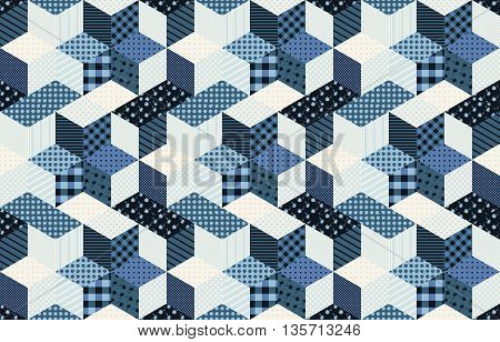 Winter seamless patchwork pattern with stars from patches. Vector background. Quilting in blue tones.