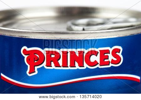 LONDON UK - MAY 6TH 2016: A close-up of the Princes logo on one of their food products on 6th May 2016.