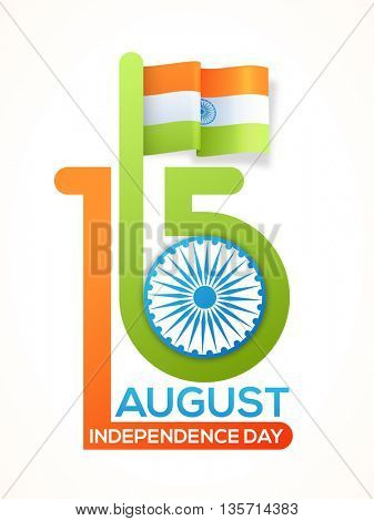 Creative Indian Flag with Stylish Text 15 August and Ashoka Wheel, Beautiful Pamphlet, Banner or Flyer design for Happy Independence Day celebration.