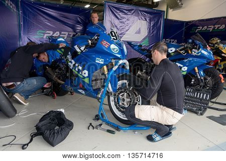 MOSCOW - JUNE 5:  Racing bike is prepared for the Race Cup Moscow Region Governor on June 5, 2016 in Moscow Raceway