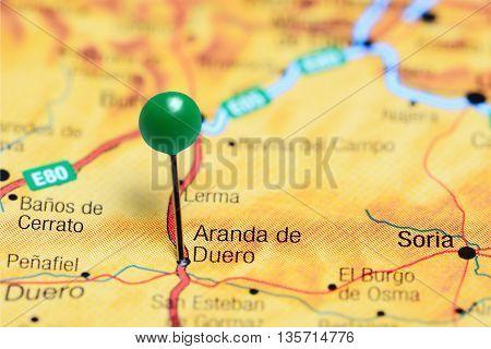Aranda de Duero pinned on a map of Spain